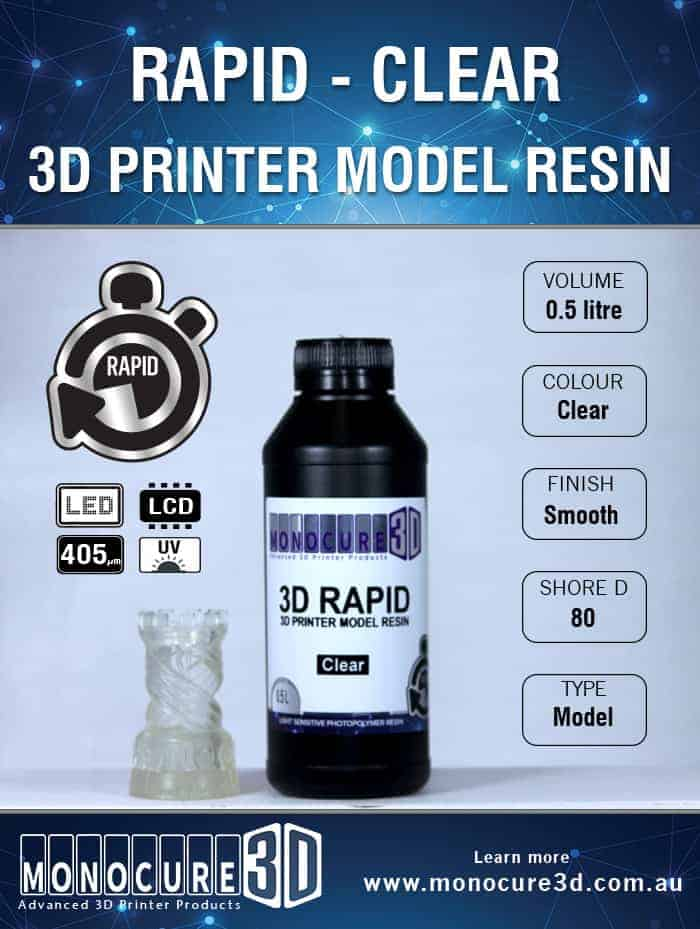3D RAPID RESIN - CLEAR (0.5 Ltr)