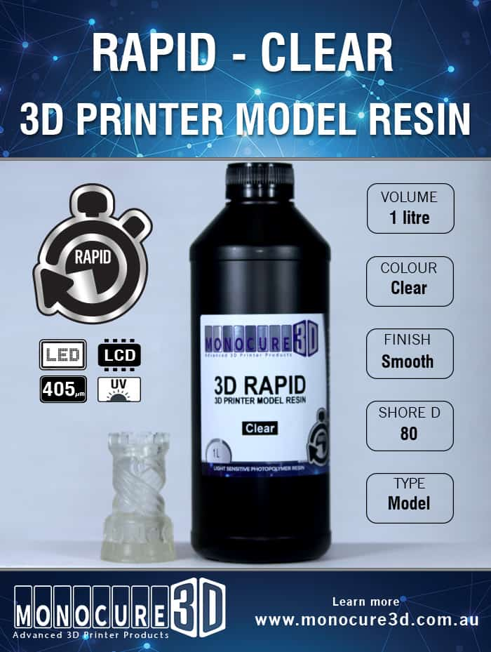 3D RAPID RESIN - CLEAR (1 Ltr)